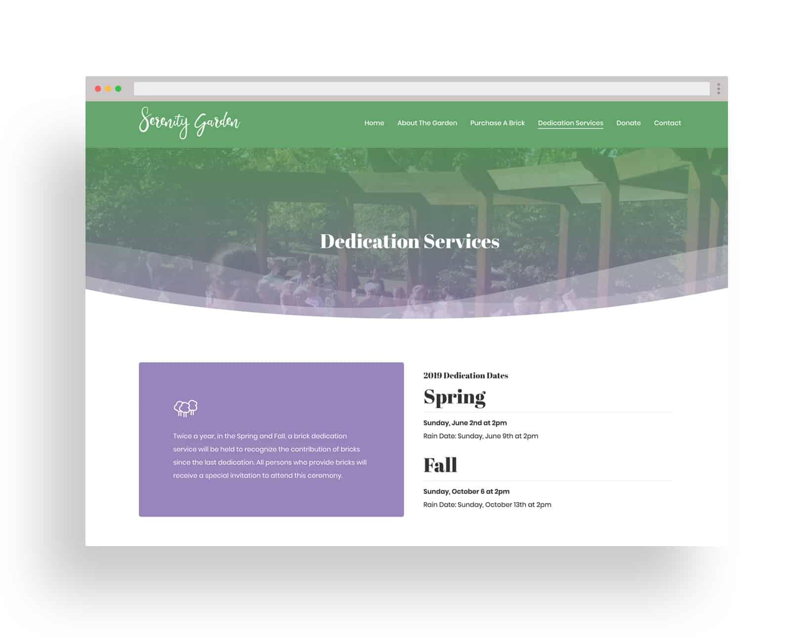 Studio JWAL Web Design Client - The Serenity Garden