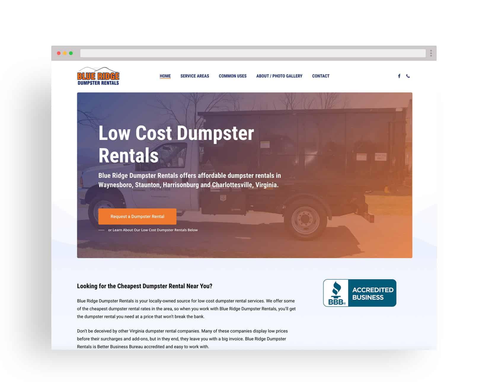Studio JWAL Web Design Client - Blue Ridge Dumpster Rentals